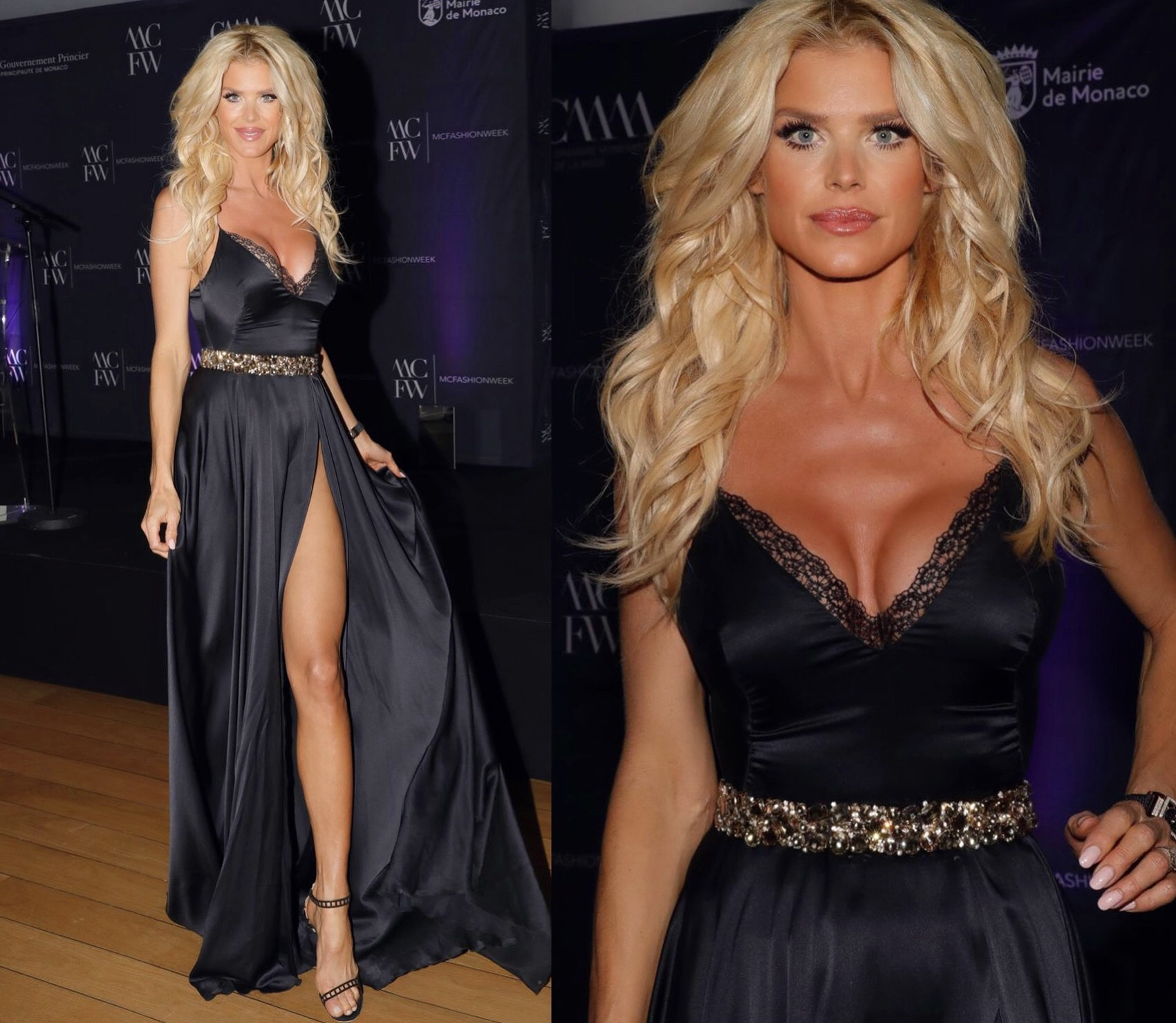 VICTORIA SILVSTEDT DRESSED BY RAQUEL BALENCIA HOSTING MONACO FASHION WEEK AWARDS 2018