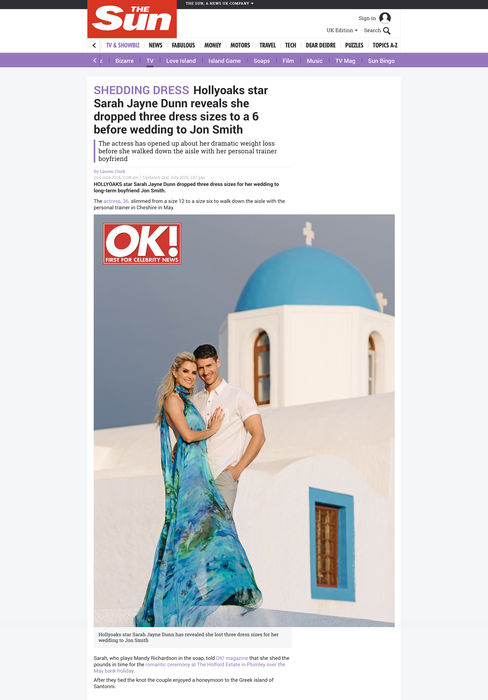 SARAH JAYNE DUNN DRESSED BY RAQUEL BALENCIA FOR OK MAGAZINE, JULY 20182