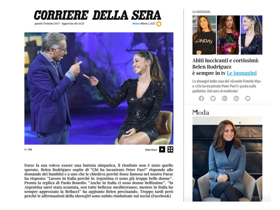 BELEN RODRIGUEZ DRESSED BY RAQUEL BALENCIA FOR MEDIASET PRIME TIME TV PROGRAM