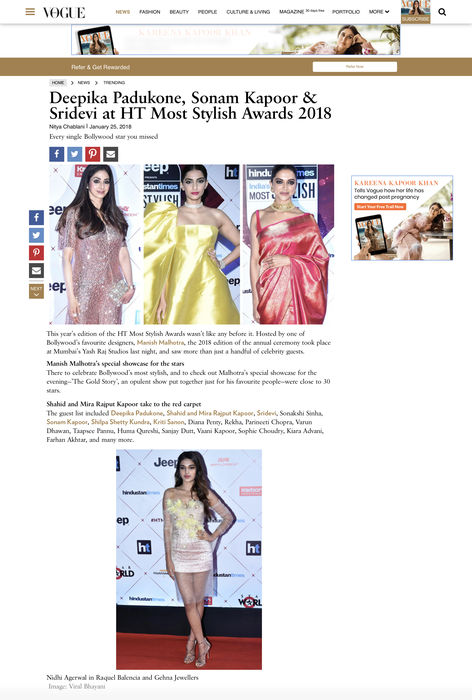 NIDHI AGERWAL DRESSED BY RAQUEL BALENCIA FOR HT MOST STYLISH AWARDS 2018, FEATURED IN VOGUE INDIA, JANUARY 20182