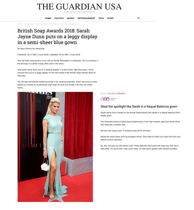 SARAH JAYNE DUNN DRESSED BY RAQUEL BALENCIA FOR BRITISH SOAP WARDS 20182