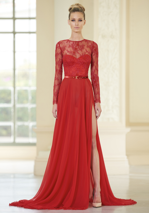 Embroidered French Lace and Georgette Silk gown
