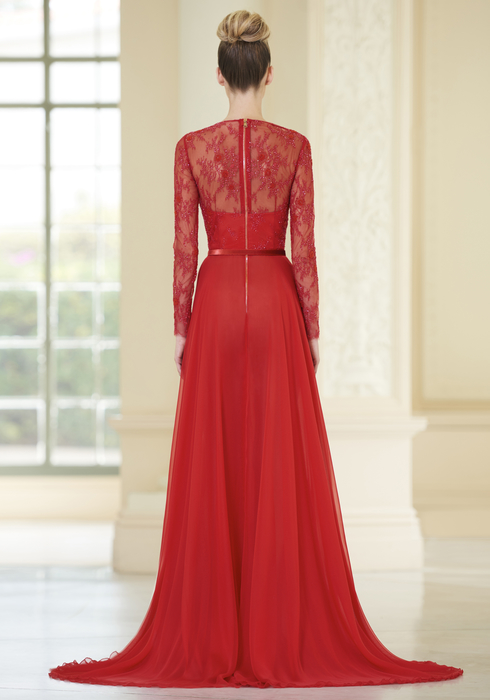Embroidered French Lace and Georgette Silk gown2