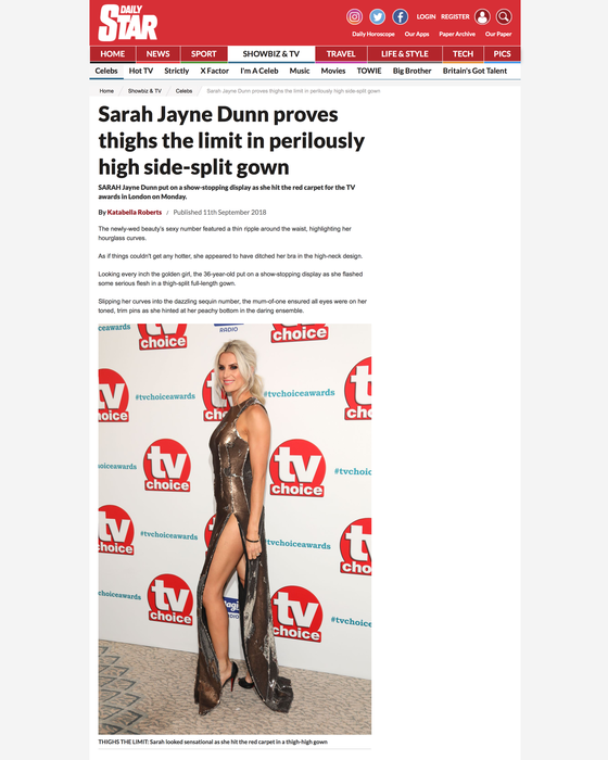 SARAH JAYNE DUNN DRESSED BY RAQUEL BALENCIA FOR TV CHOICE AWARDS 20182