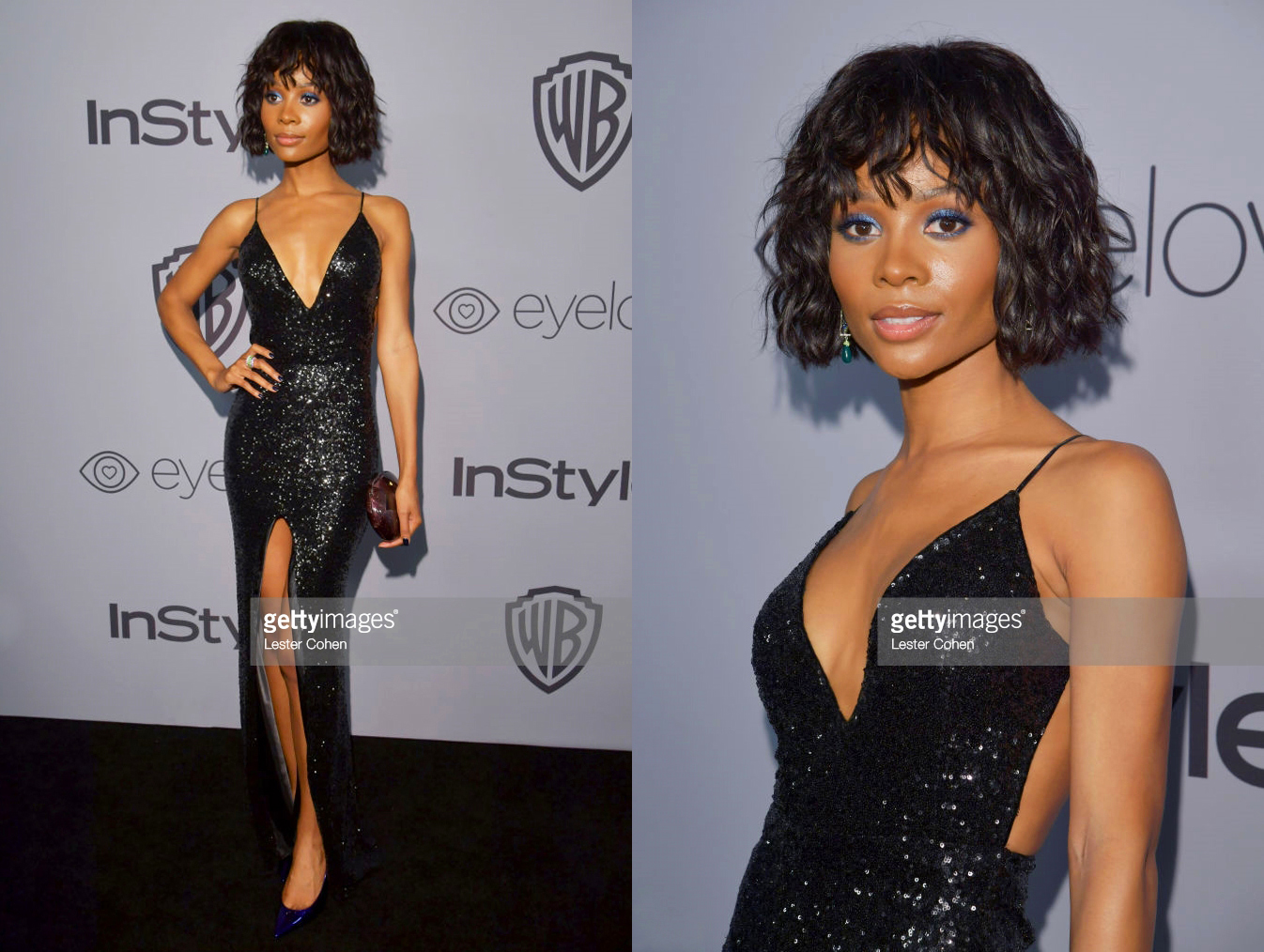 ZURI HALL, E! NEWS TV HOST, DRESSED BY RAQUEL BALENCIA DURING THE GOLDEN GLOBES, WARNER BROS ENTERTAINMENT PARTY