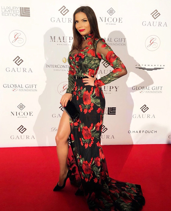 REBECA LISCANO DRESSED BY RAQUEL BALENCIA FOR GLOBAL GIFT FOUNDATION GALA, DURING CANNES FILM FESTIVAL 20182