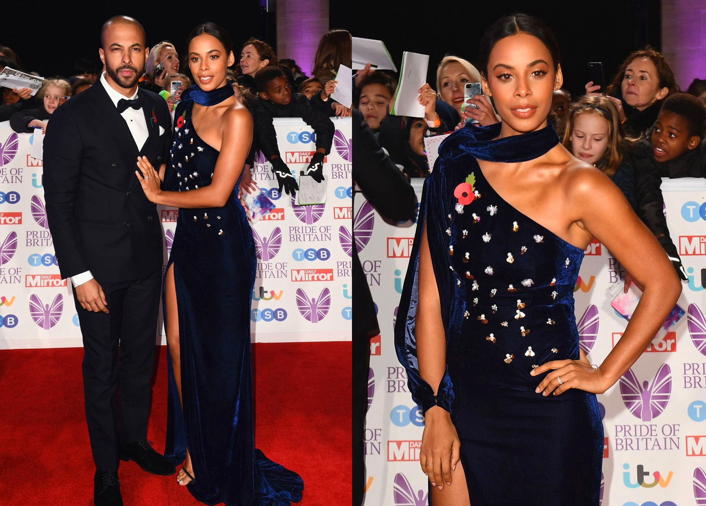 ROCHELLE HUMES DRESSED BY RAQUEL BALENCIA FOR PRIDE OF BRITAIN AWARDS 2018