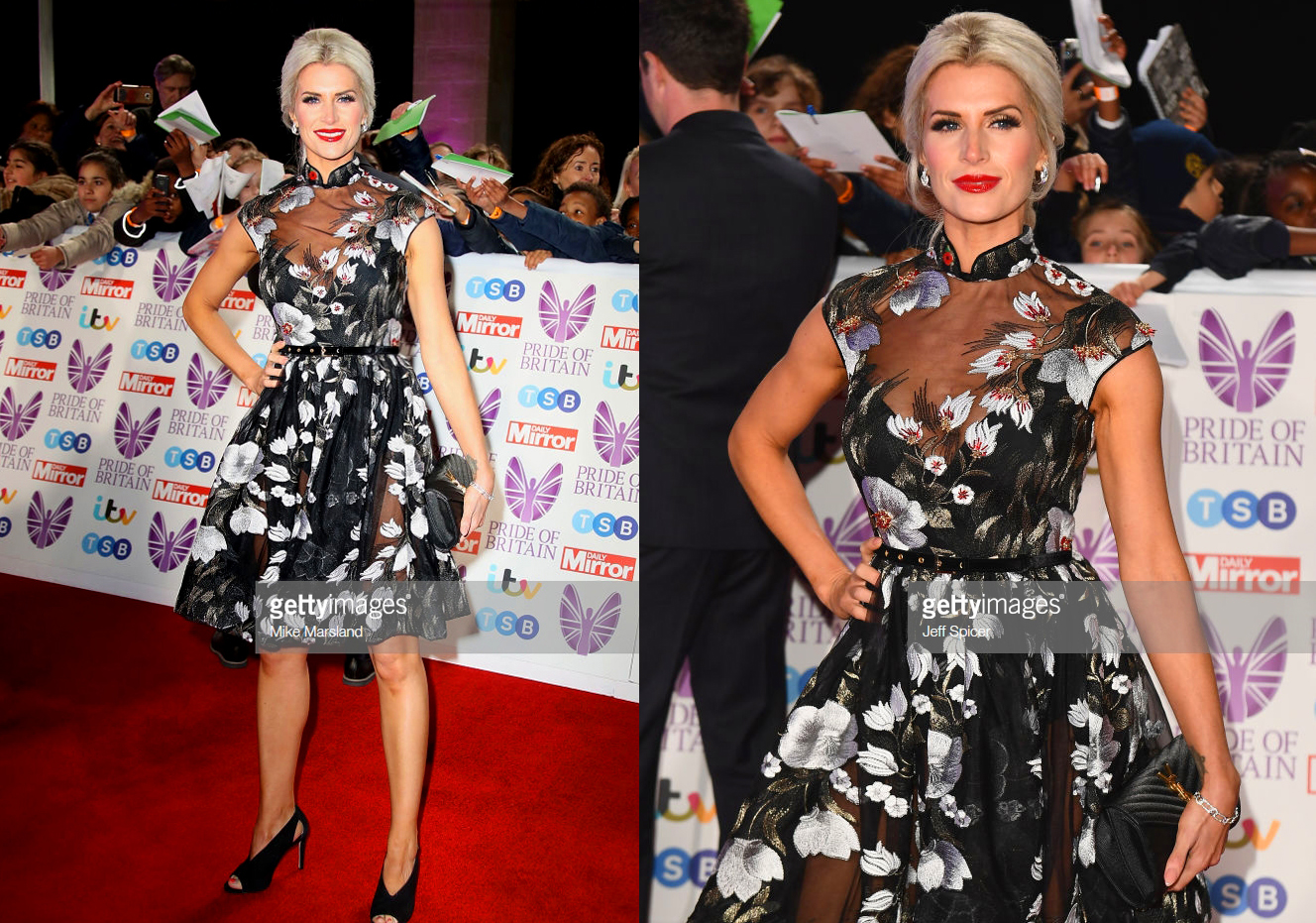 SARAH JAYNE DUNN DRESSED BY RAQUEL BALENCIA FOR PRIDE OF BRITAIN AWARDS 2018