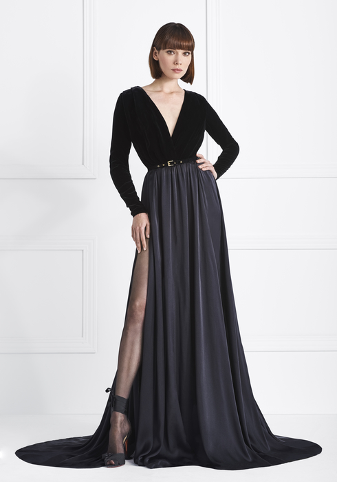 Velvet and Musseline Silk gown