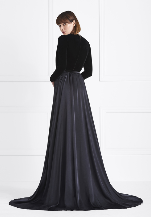 Velvet and Musseline Silk gown2