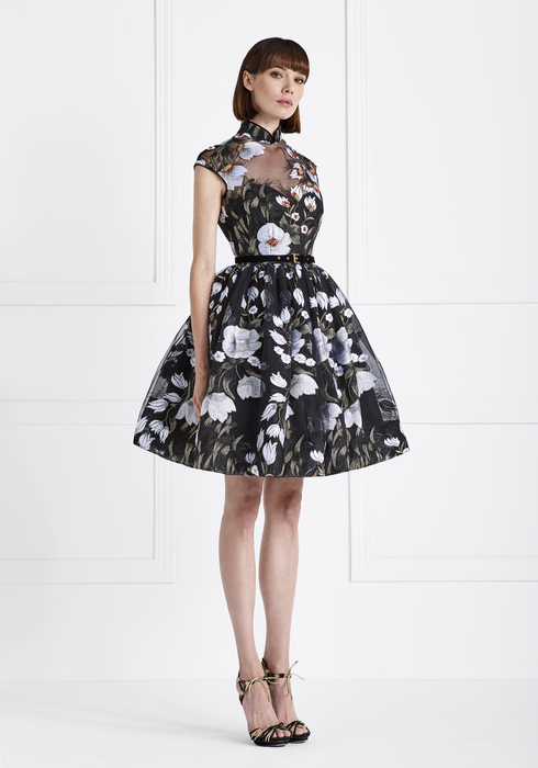 Embroidered Tulle and Duchesse Silk MidiDress