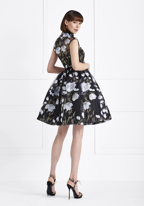 Embroidered Tulle and Duchesse Silk MidiDress2