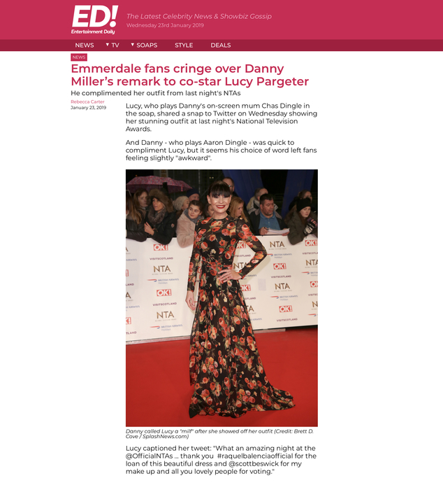 LUCY PARGETER DRESSED BY RAQUEL BALENCIA FOR NATIONAL TELEVISION AWARDS 20192